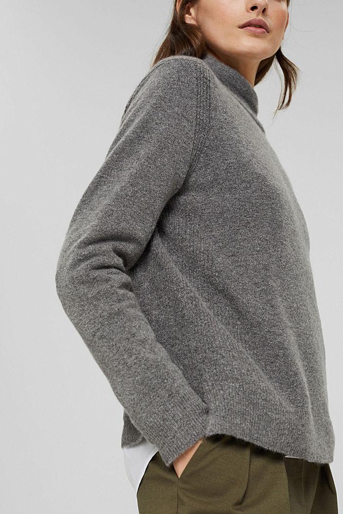 Con lana: pullover con collo a lupetto, GUNMETAL, detail image number 5