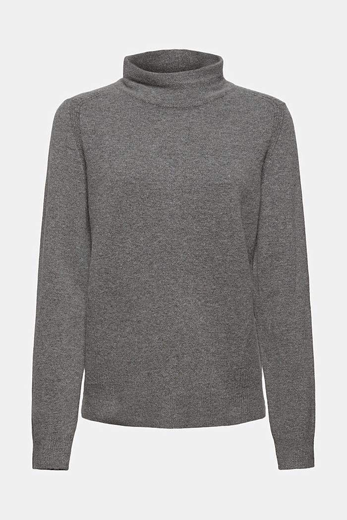 Con lana: pullover con collo a lupetto, GUNMETAL, detail image number 6