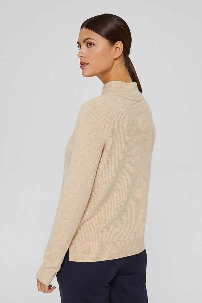 Con lana: pullover con collo a lupetto, SAND, detail image number 3