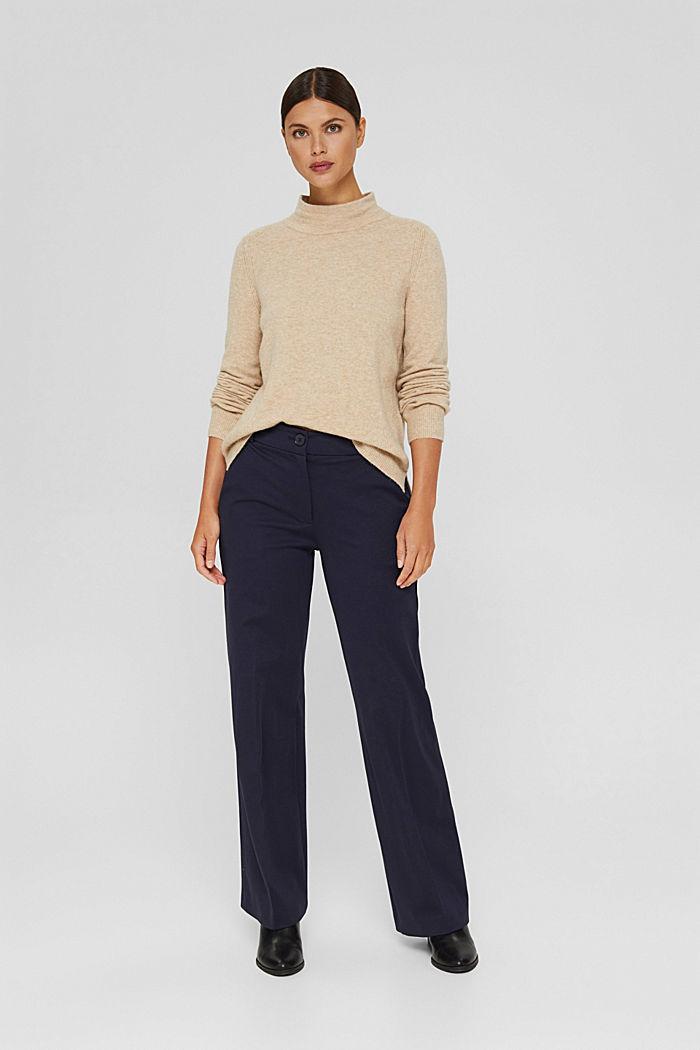 Con lana: pullover con collo a lupetto, SAND, detail image number 1