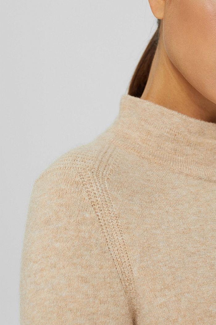 Con lana: pullover con collo a lupetto, SAND, detail image number 2