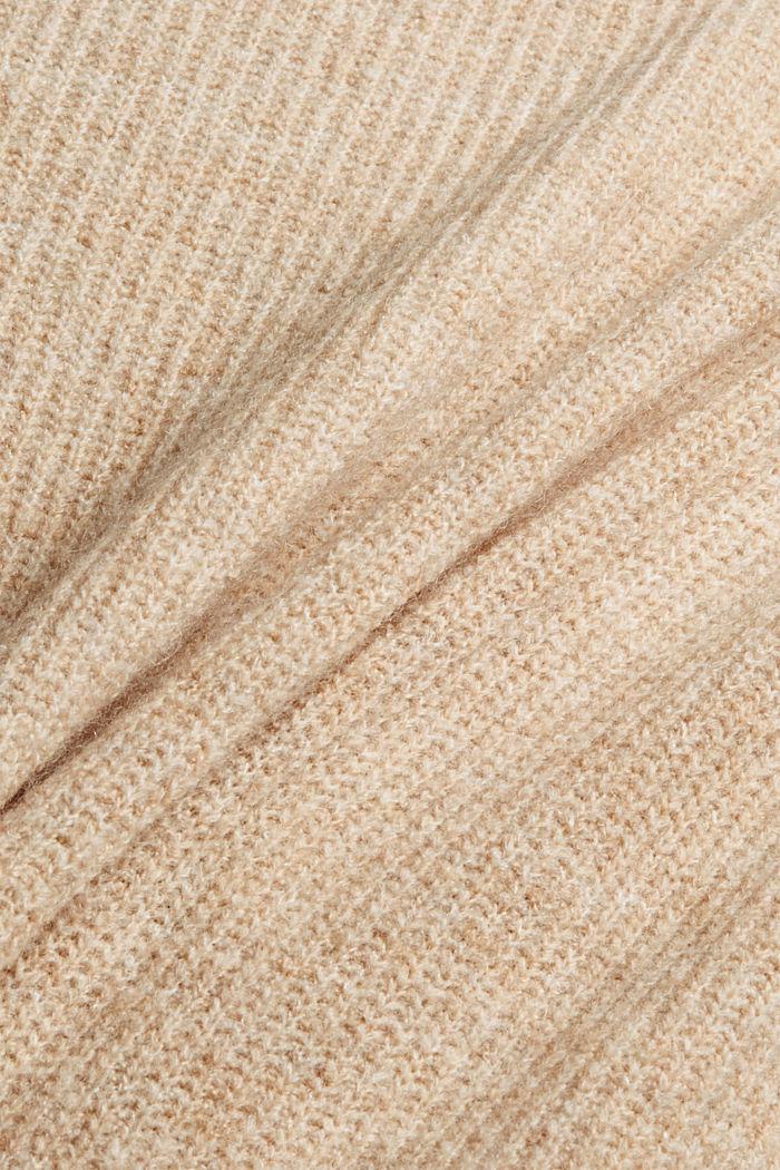 Con lana: pullover con collo a lupetto, SAND, detail image number 4