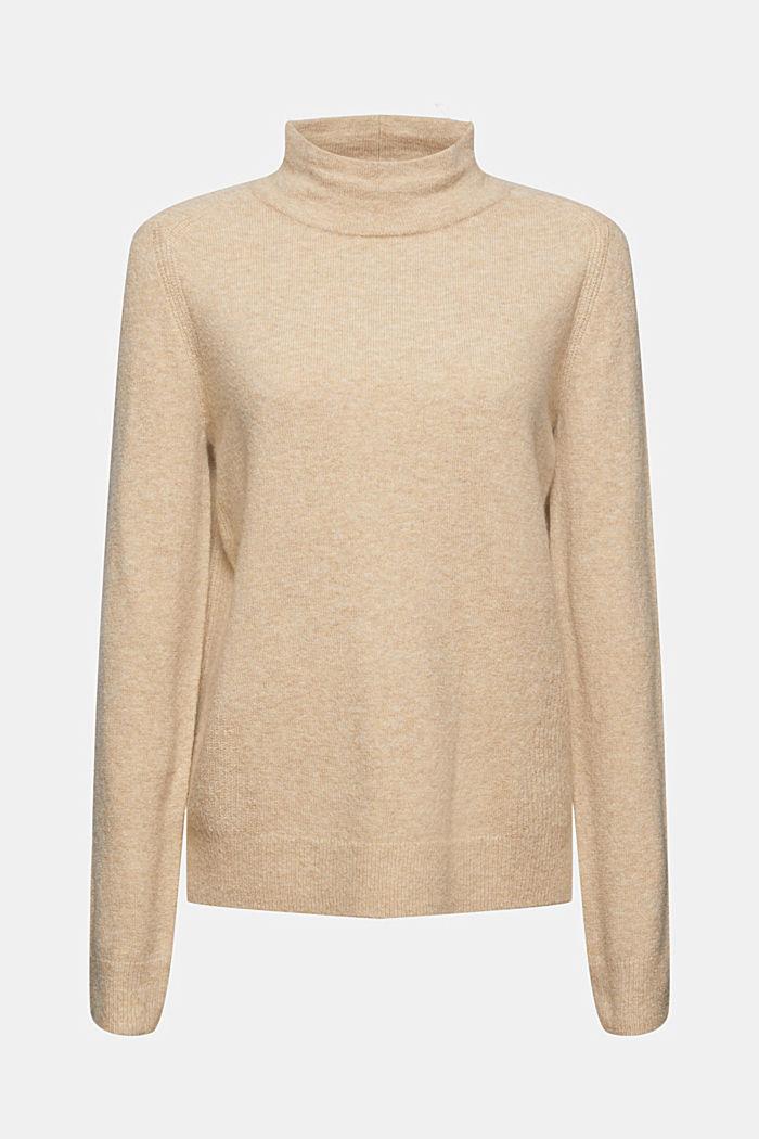 Mit Wollle: Pullover mit Stehkragen