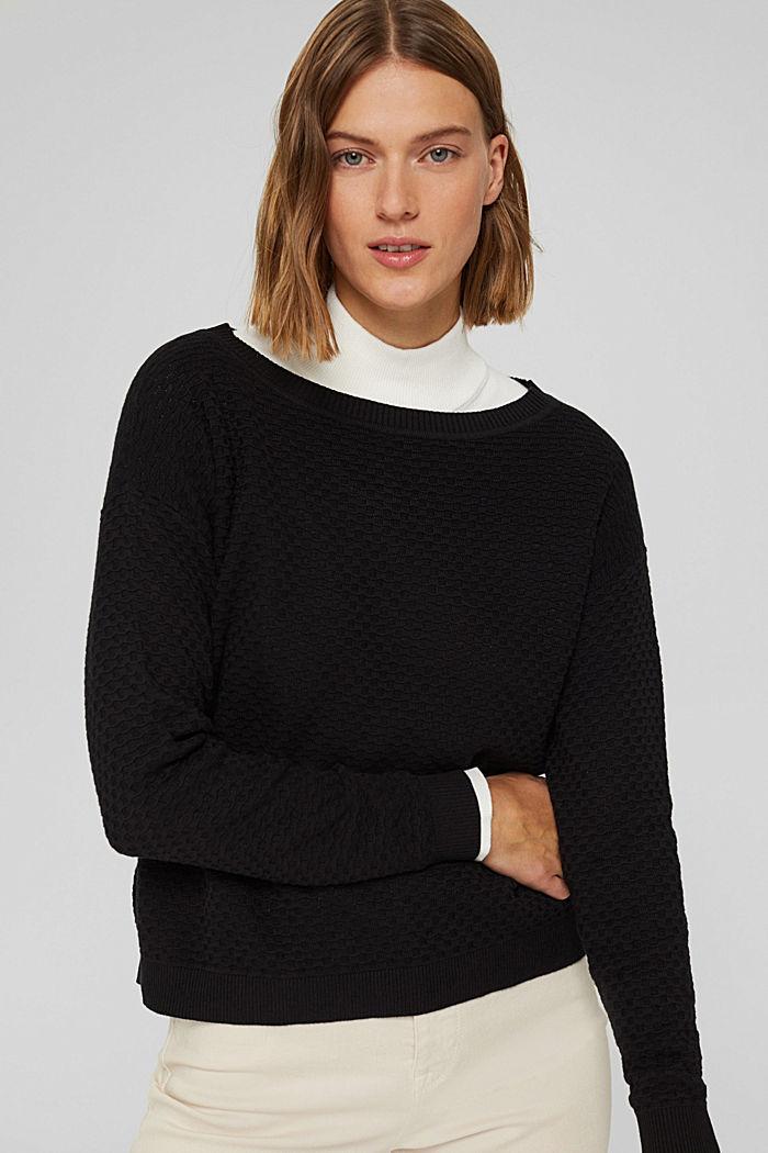 Waffle texture jumper, 100% cotton, BLACK, detail image number 0
