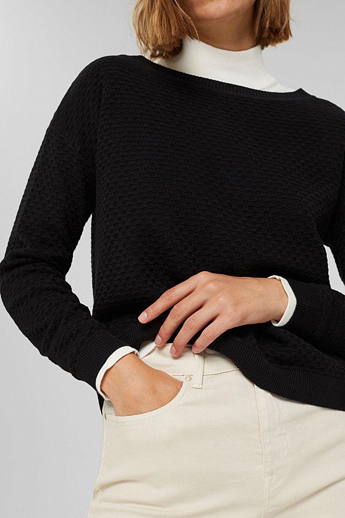 Waffle texture jumper, 100% cotton, BLACK, detail image number 2