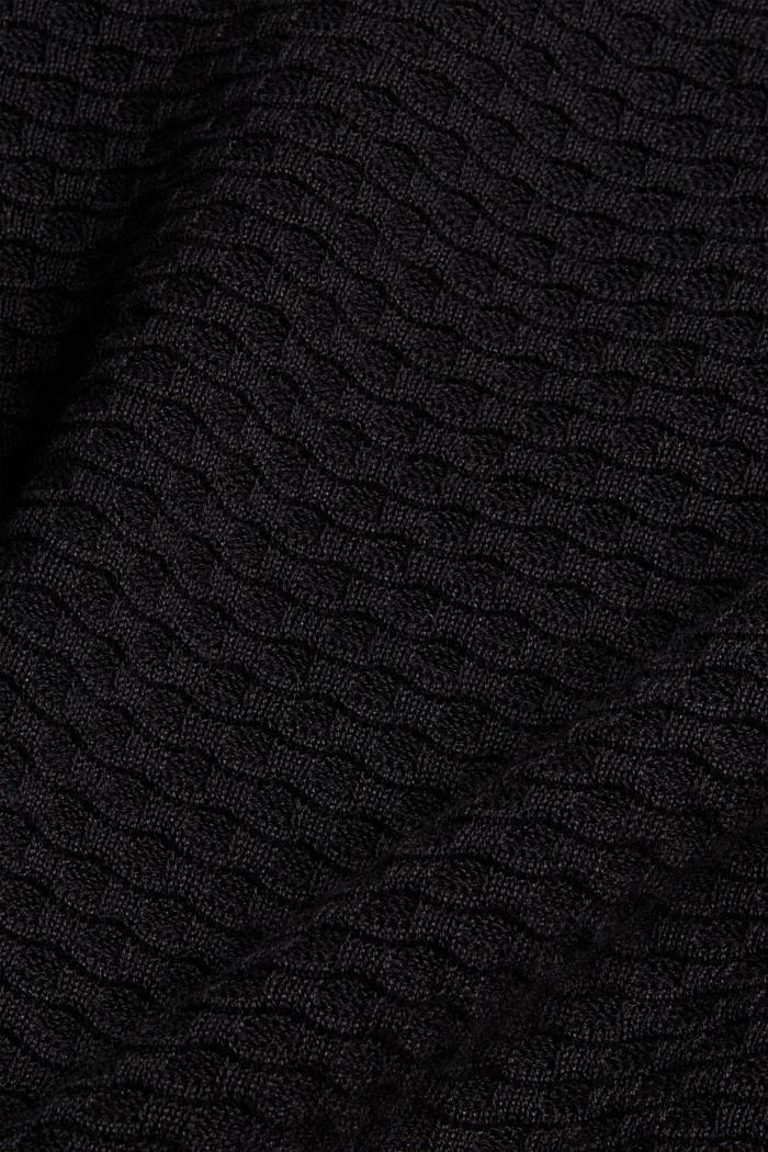 Waffle texture jumper, 100% cotton, BLACK, detail image number 4