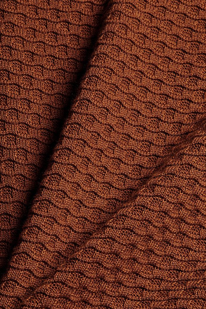 Trui met wafelstructuur, 100% katoen, TOFFEE, detail image number 4