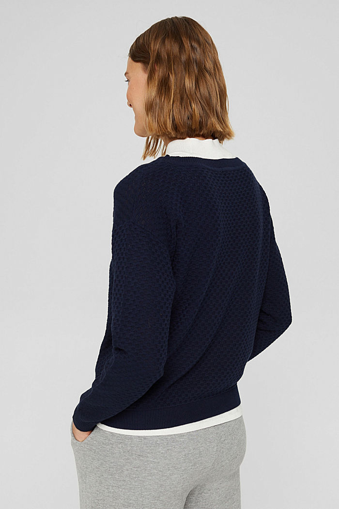 Pullover con struttura a nido d'ape, 100% cotone, NAVY, detail image number 3