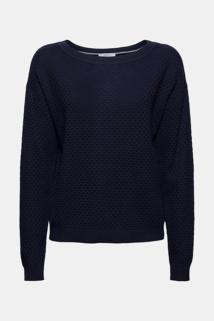Pullover con struttura a nido d'ape, 100% cotone, NAVY, detail image number 5