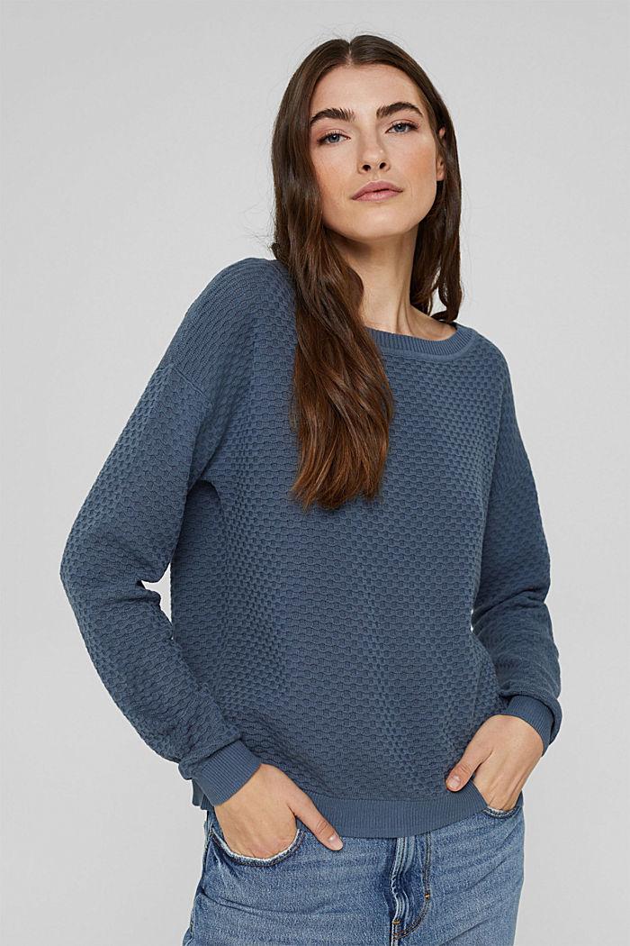 Jersey con textura apanalada, 100% algodón, GREY BLUE, detail image number 0