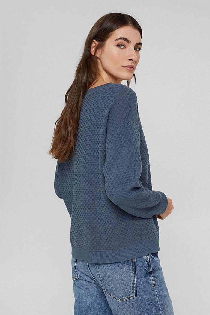 Jersey con textura apanalada, 100% algodón, GREY BLUE, detail image number 3