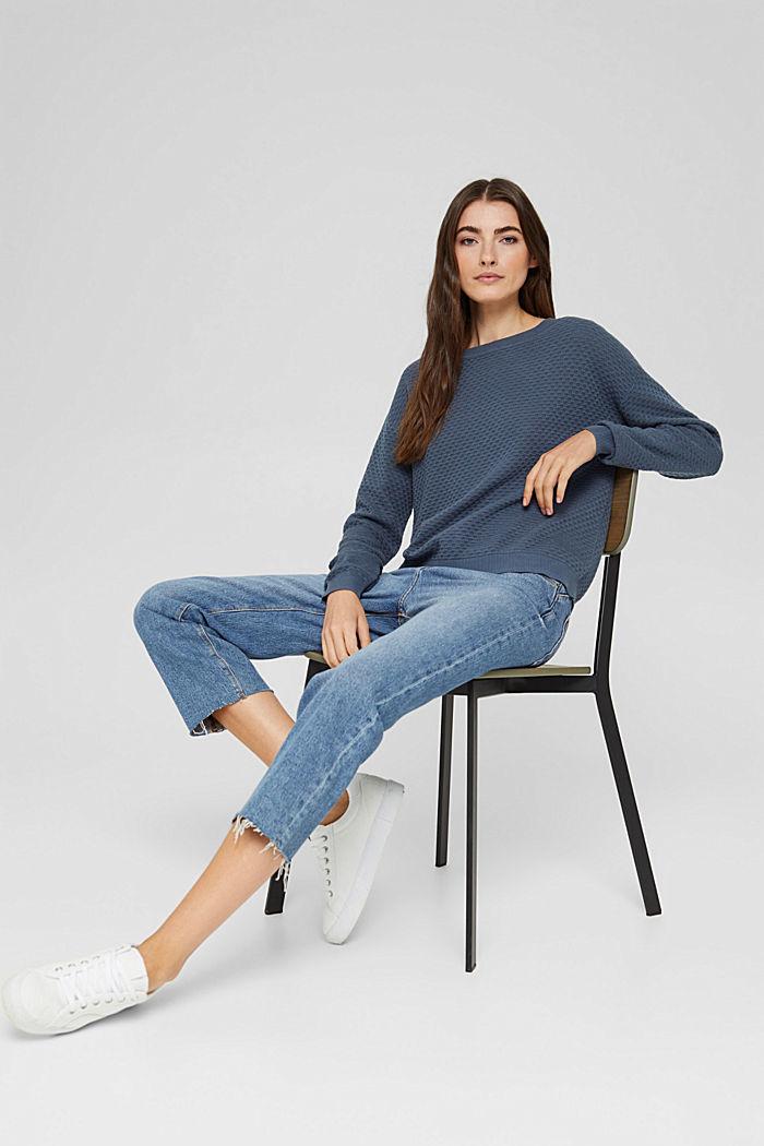 Jersey con textura apanalada, 100% algodón, GREY BLUE, detail image number 5