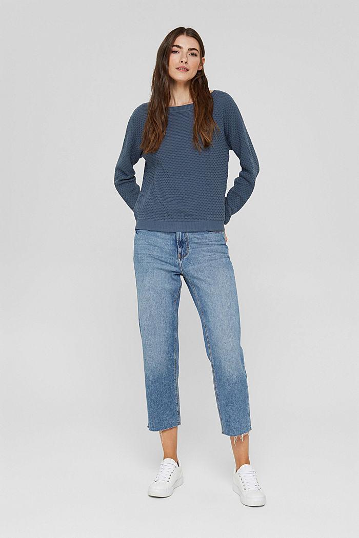 Jersey con textura apanalada, 100% algodón, GREY BLUE, detail image number 1