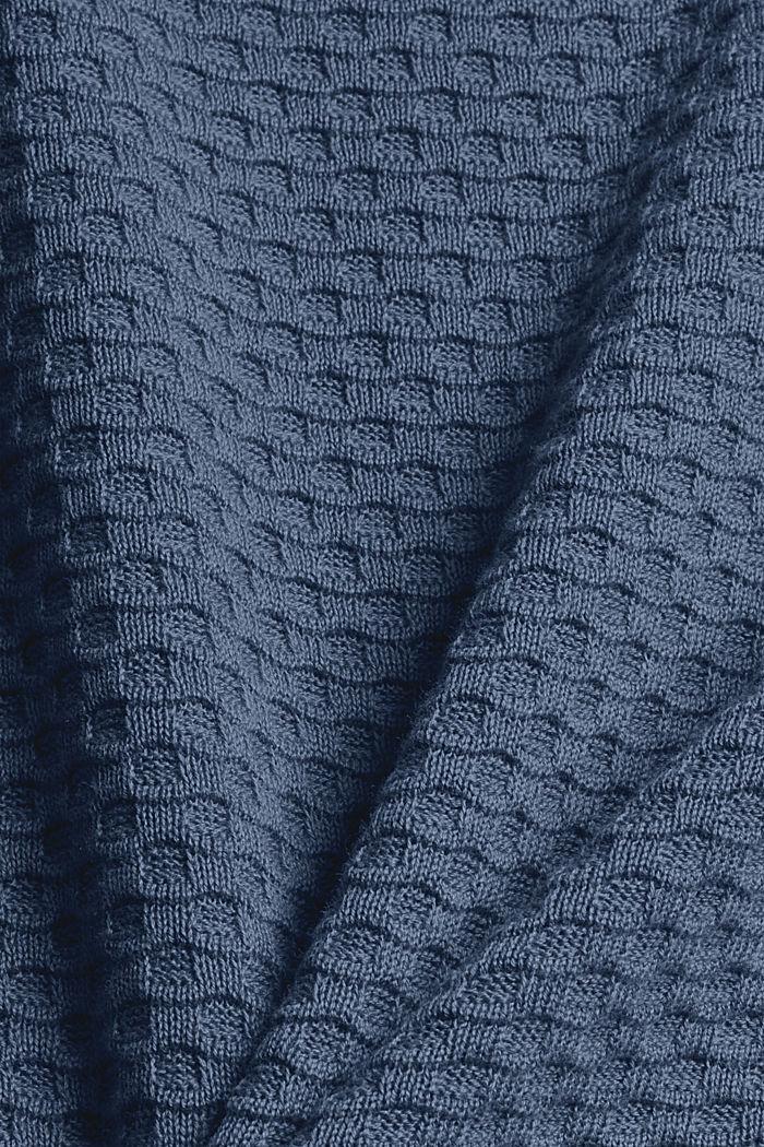 Jersey con textura apanalada, 100% algodón, GREY BLUE, detail image number 4