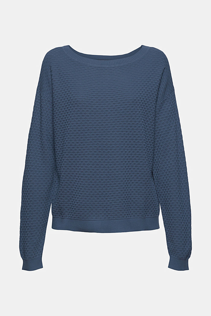 Jersey con textura apanalada, 100% algodón, GREY BLUE, detail image number 7