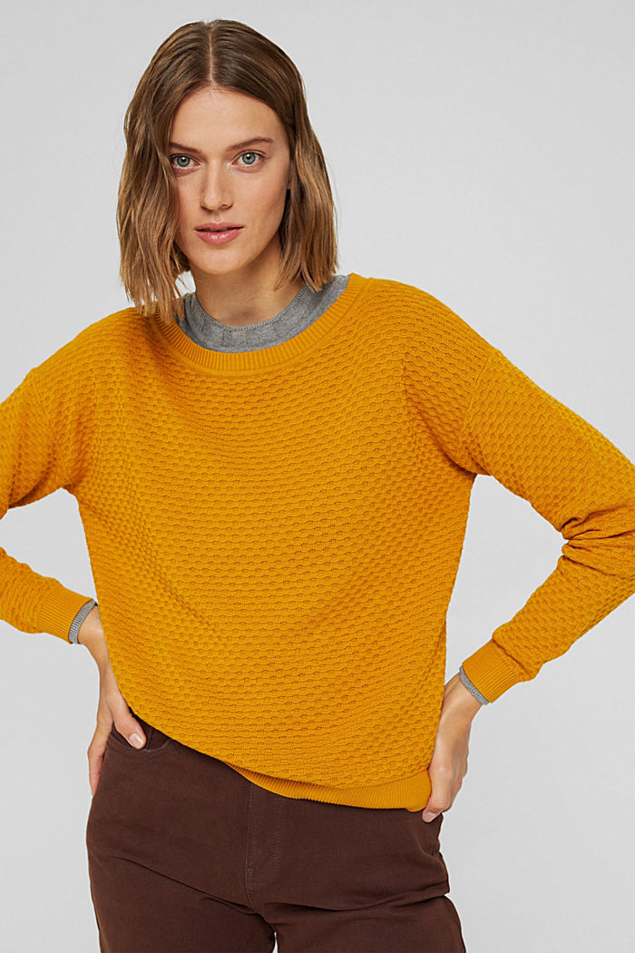 Sweaters, HONEY YELLOW, detail image number 0