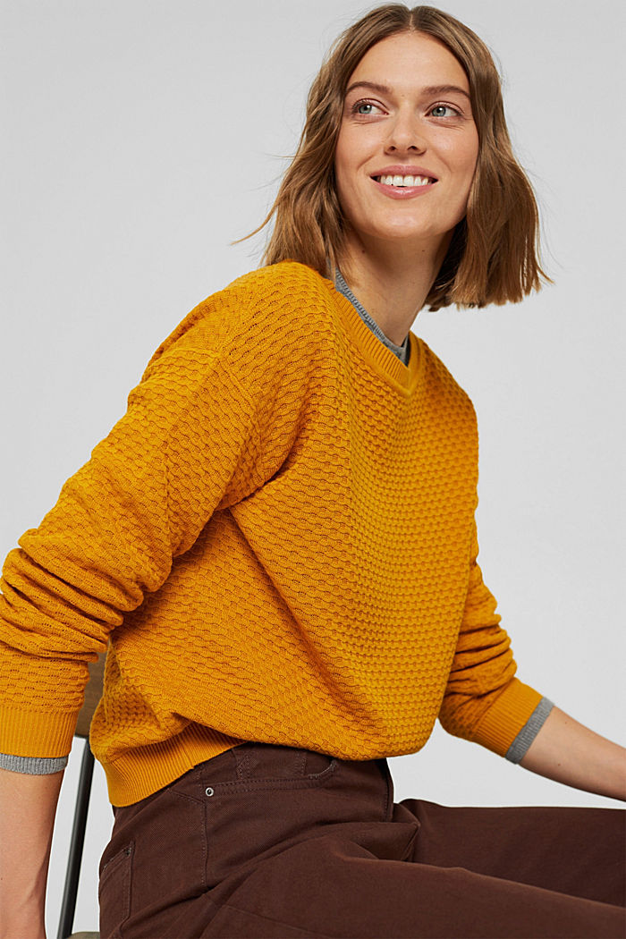 Sweaters, HONEY YELLOW, detail image number 5