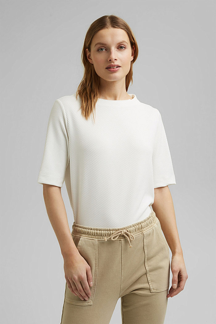 Textured short-sleeved sweatshirt, OFF WHITE, detail image number 0