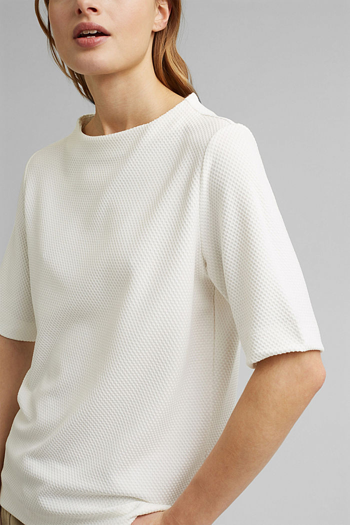 Textured short-sleeved sweatshirt, OFF WHITE, detail image number 2