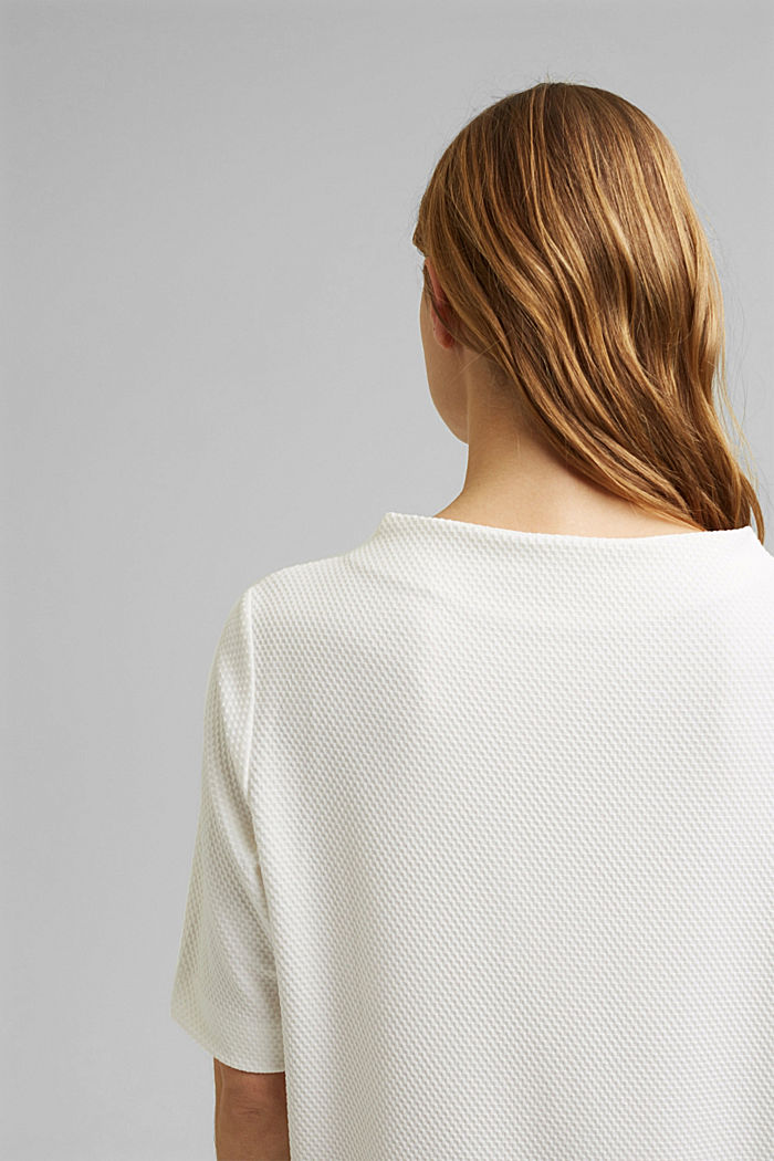 Fakturowana bluza z krótkim rękawem, OFF WHITE, detail image number 5