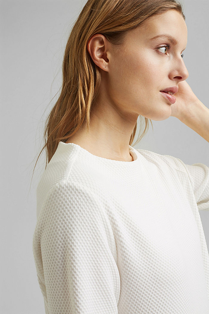 Textured short-sleeved sweatshirt, OFF WHITE, detail image number 6