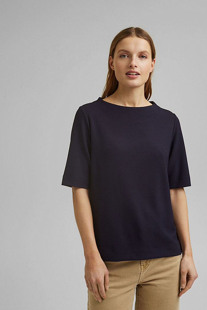 Textured short-sleeved sweatshirt, NAVY, detail image number 0