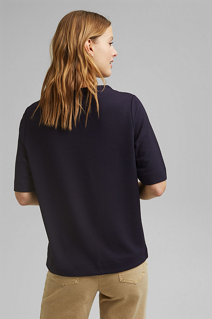 Textured short-sleeved sweatshirt, NAVY, detail image number 3