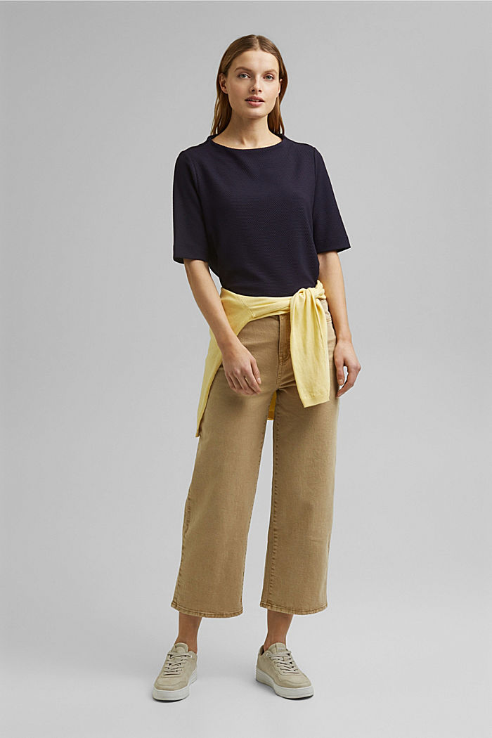 Textured short-sleeved sweatshirt, NAVY, detail image number 1