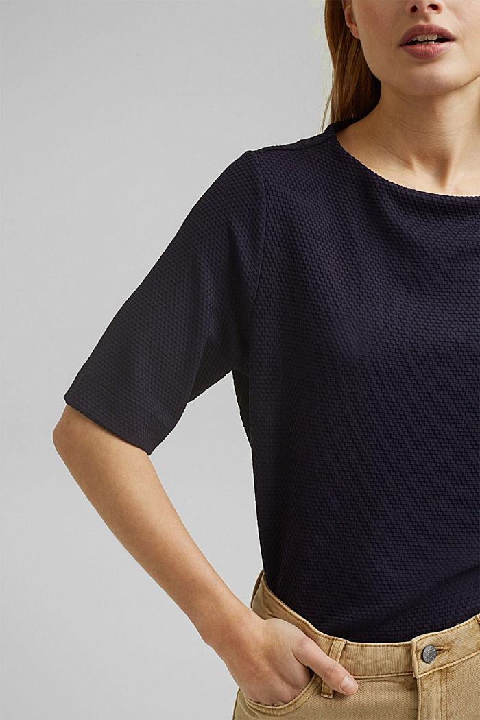Textured short-sleeved sweatshirt, NAVY, detail image number 2