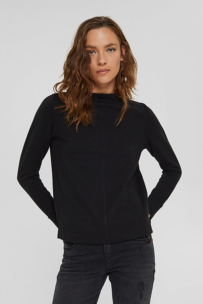 Sweatshirt with a stand-up collar, blended organic cotton, BLACK, detail image number 0
