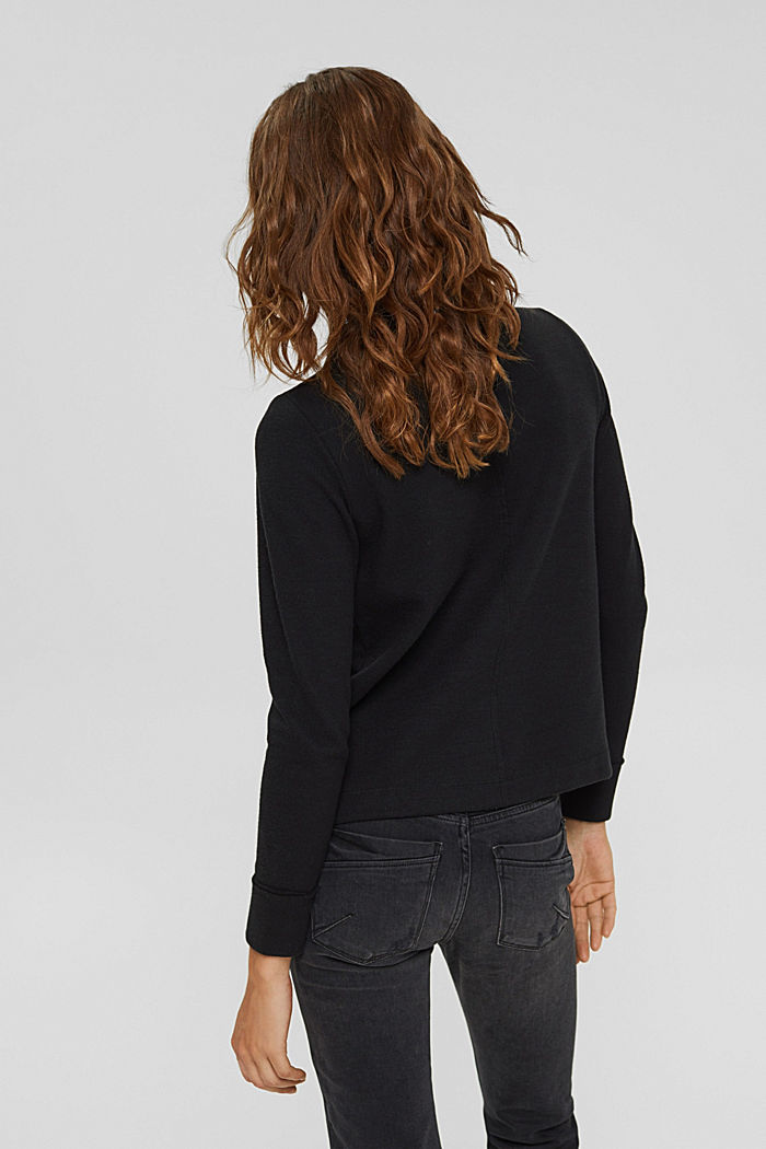 Sweatshirt with a stand-up collar, blended organic cotton, BLACK, detail image number 3
