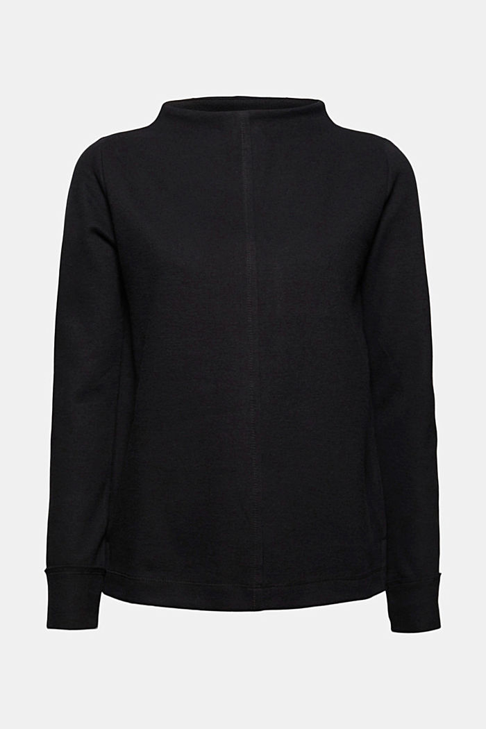 Sweatshirt with a stand-up collar, blended organic cotton, BLACK, detail image number 7