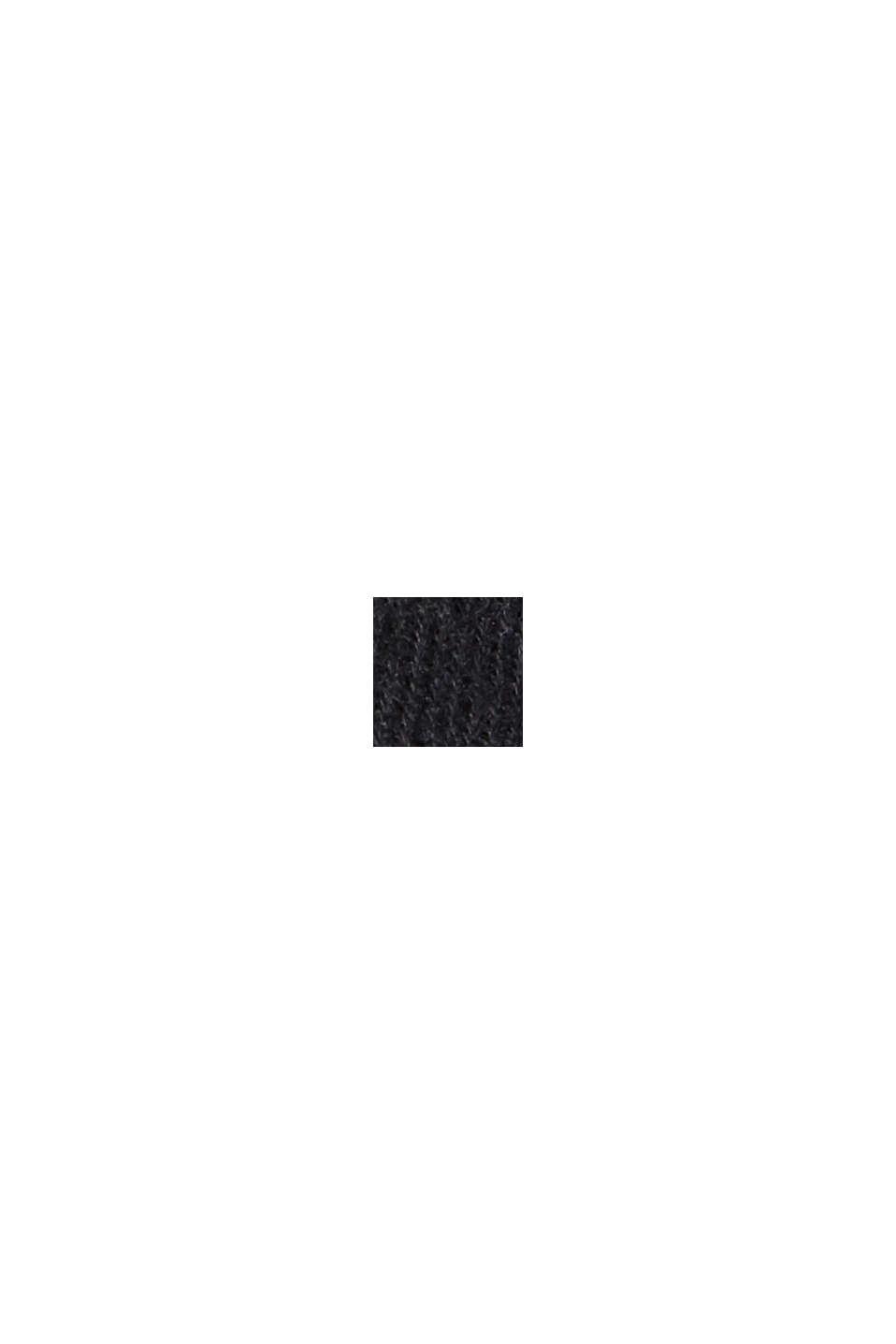 Sweat-shirt à col droit, coton bio mélangé, BLACK, swatch