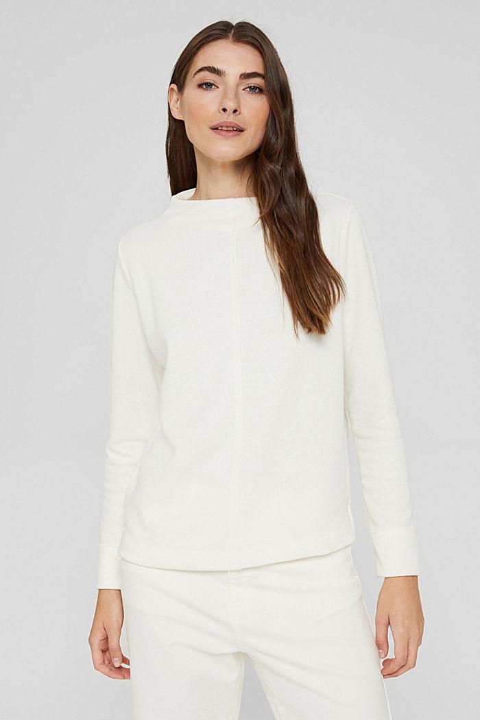 Sweat-shirt à col droit, coton bio mélangé, OFF WHITE, detail image number 0