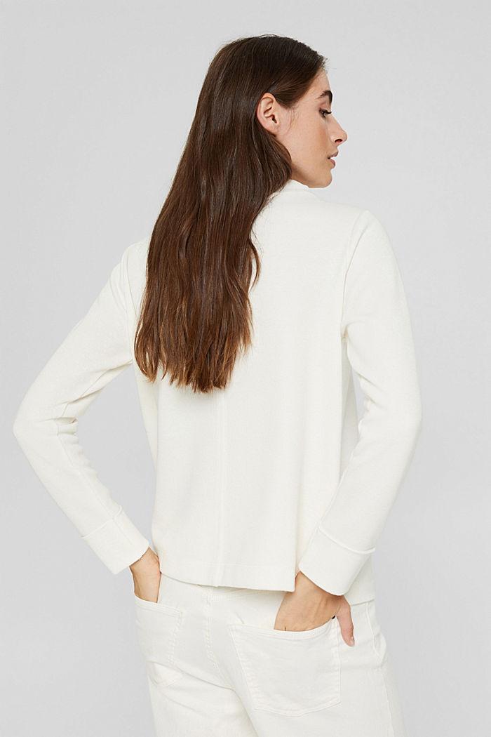 Sweat-shirt à col droit, coton bio mélangé, OFF WHITE, detail image number 3