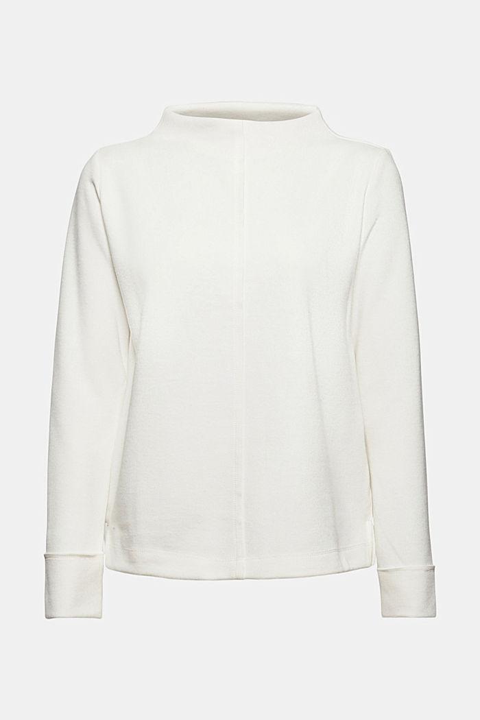 Sweat-shirt à col droit, coton bio mélangé