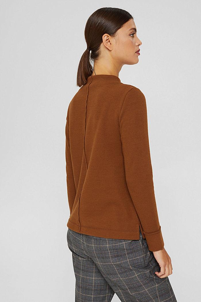 Sweatshirt met opstaande kraag, mix met biologisch katoen, TOFFEE, detail image number 3