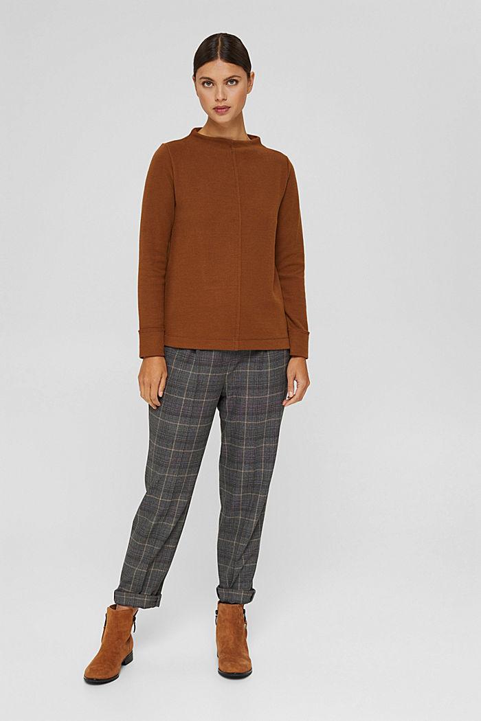 Sweatshirt met opstaande kraag, mix met biologisch katoen, TOFFEE, detail image number 1