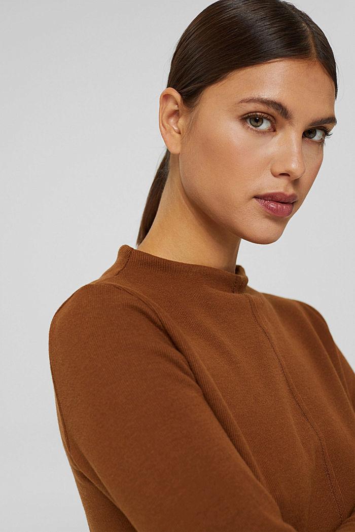 Sweatshirt met opstaande kraag, mix met biologisch katoen, TOFFEE, detail image number 5