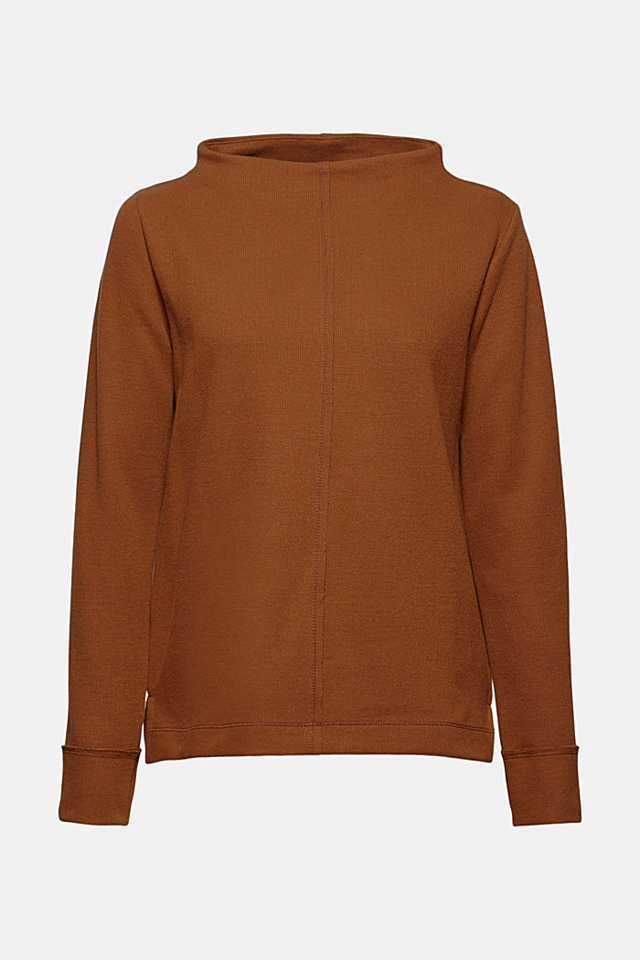 Sweatshirt met opstaande kraag, mix met biologisch katoen, TOFFEE, detail image number 6