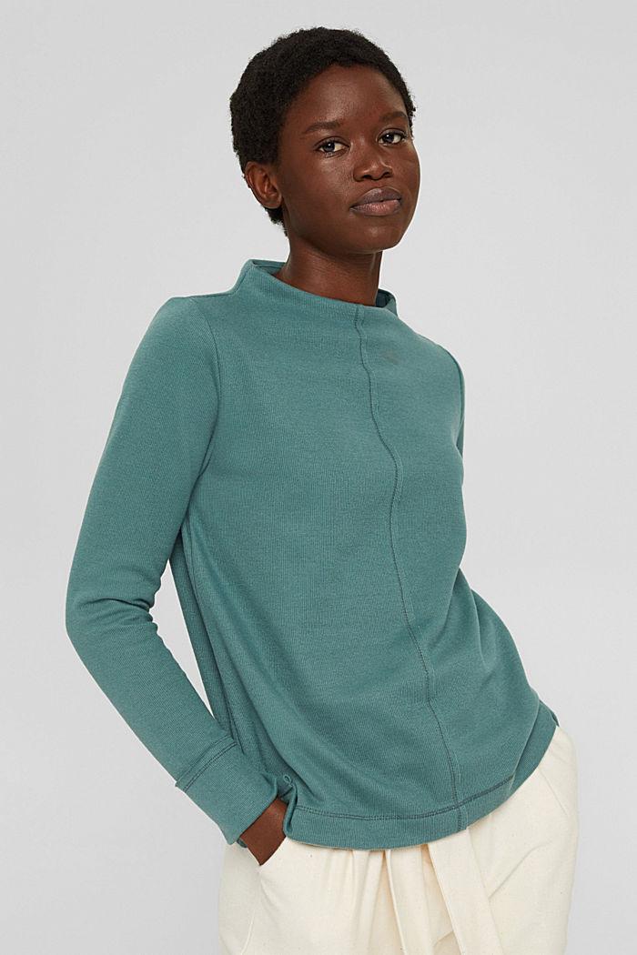 Sweatshirt met opstaande kraag, mix met biologisch katoen, TEAL BLUE, detail image number 0