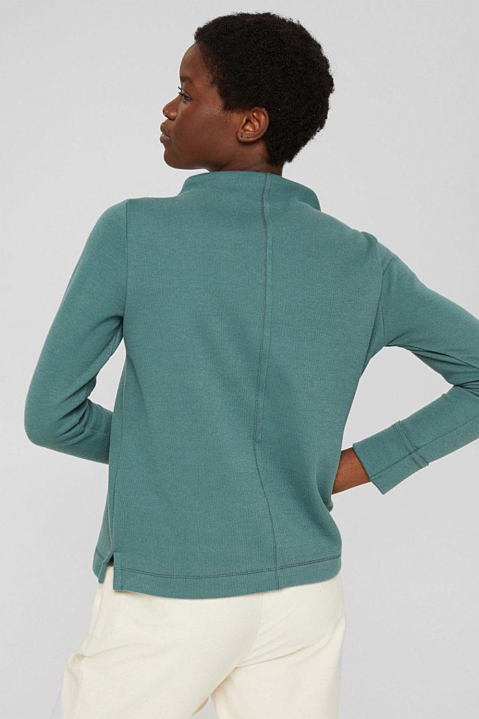 Sweatshirt met opstaande kraag, mix met biologisch katoen, TEAL BLUE, detail image number 3