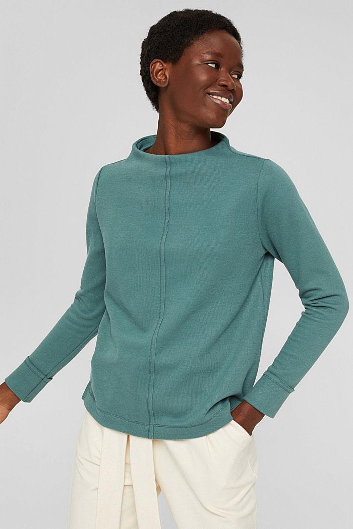 Sweatshirt met opstaande kraag, mix met biologisch katoen, TEAL BLUE, detail image number 5