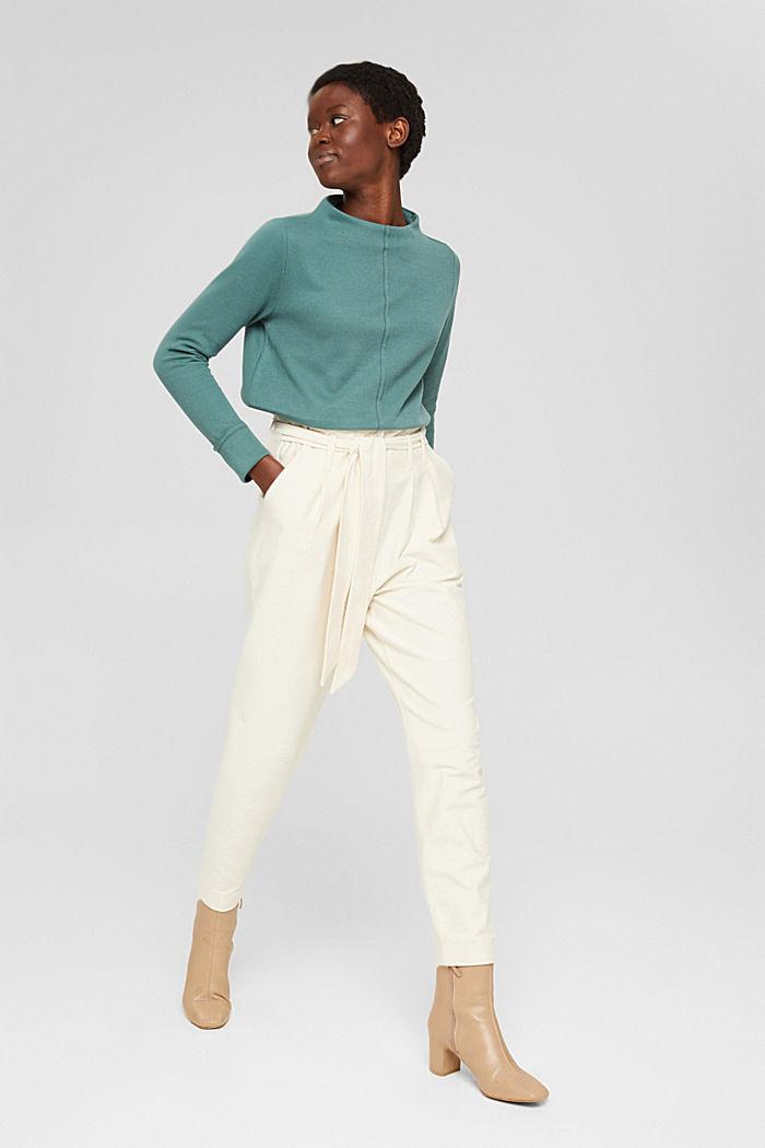 Sweatshirt met opstaande kraag, mix met biologisch katoen, TEAL BLUE, detail image number 1