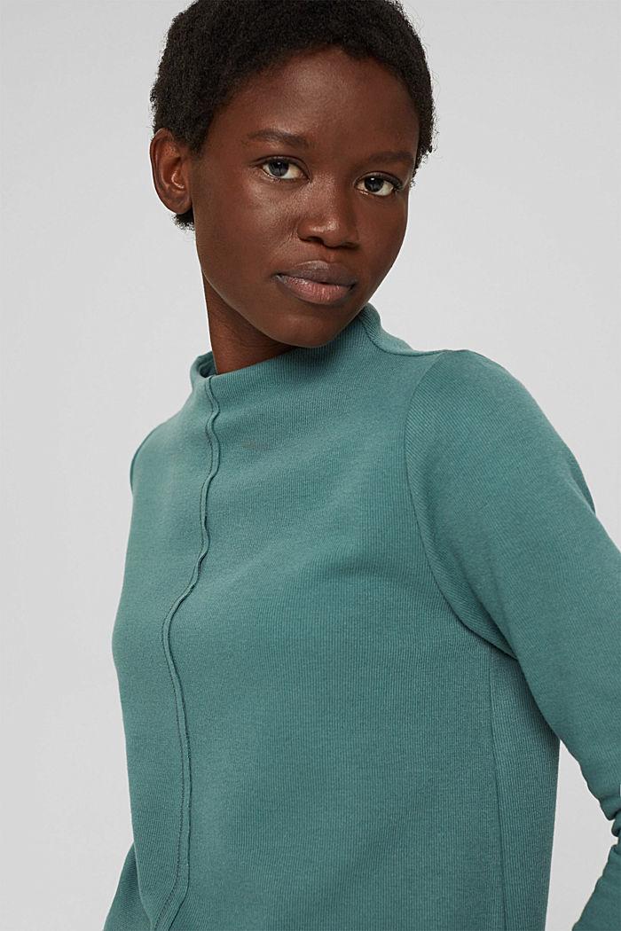 Sweatshirt met opstaande kraag, mix met biologisch katoen, TEAL BLUE, detail image number 6