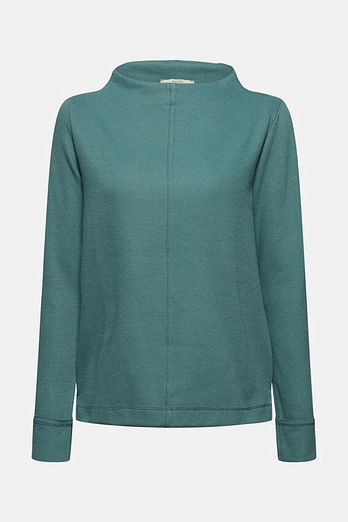 Sweatshirt met opstaande kraag, mix met biologisch katoen, TEAL BLUE, detail image number 7