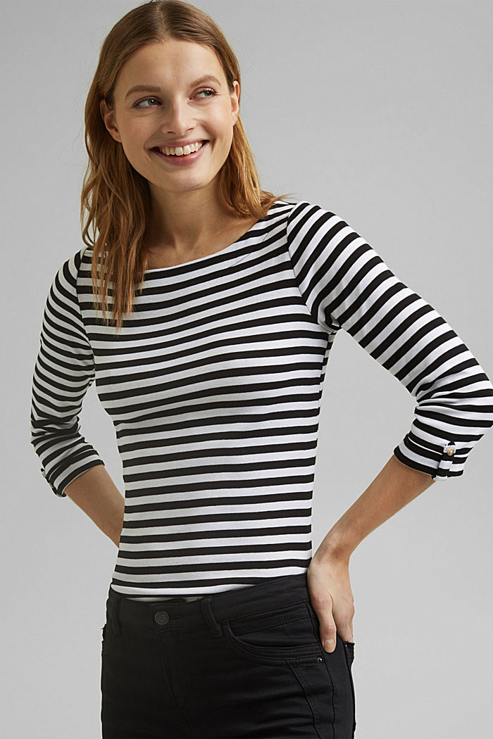 Long sleeve top made of 100% organic cotton, BLACK, overview