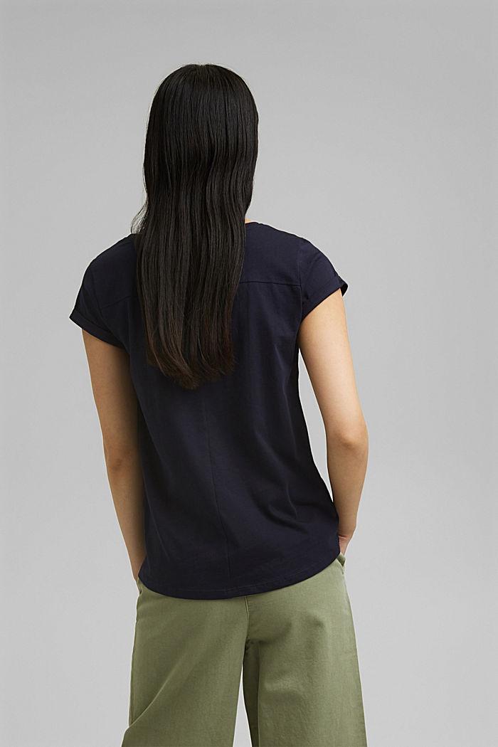 T-shirt à imprimé logo, coton bio, NAVY, detail image number 3