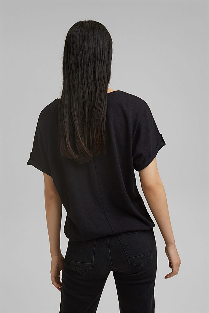 Cotton/linen blend T-shirt, BLACK, detail image number 3