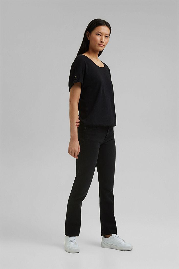 Cotton/linen blend T-shirt, BLACK, detail image number 1
